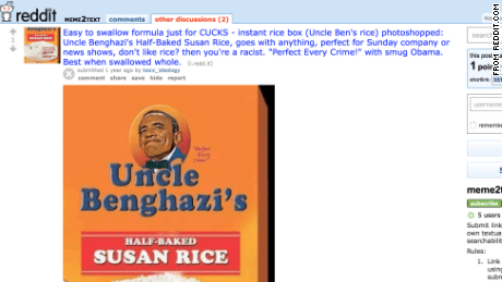 An  image of President Obama on a box of Uncle Ben's Rice was circulated on sites like Reddit.