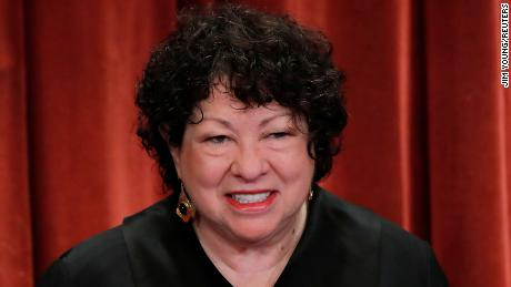 U.S. Supreme Court Associate Justice Sonia Sotomayor smiles during a group portrait session for the new full court at the Supreme Court on Nov. 30, 2018 in Washington, DC.