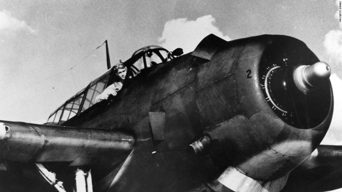 Bush sits in his VT-51 Avenger in 1945. Two years earlier, he became the youngest pilot in the US Navy. He flew 58 combat missions in World War II and was awarded three Air Medals and the Distinguished Flying Cross.