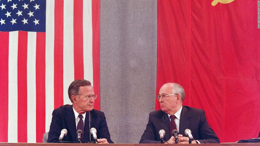 Bush and Gorbachev confer during a joint news conference in Moscow in July 1991. The event concluded a two-day summit dedicated to disarmament.