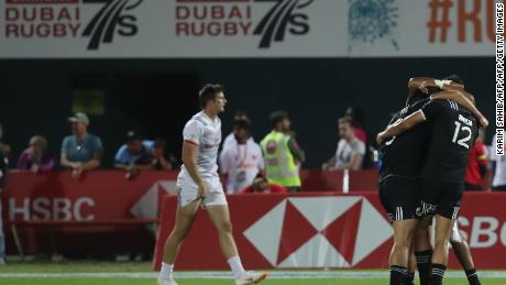 New Zealand players celebrate during the final of the Men's Sevens World Rugby Dubai Series Cup.