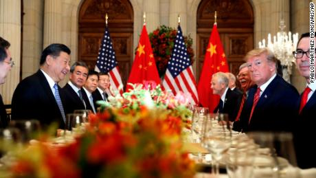 FILE - In this Dec. 1, 2018, file photo, U.S. President Donald Trump, second right, and China's President Xi Jinping, second left, attend their bilateral meeting at the G20 Summit in Buenos Aires, Argentina. A U.S.-Chinese cease fire on tariffs gives jittery companies a respite but does little to resolve a war over Beijing's technology ambitions that threatens to chill global economic growth.