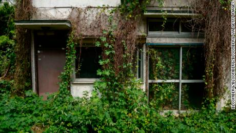 Overgrown vegetation surrounds a vacant house in the Yato area of Yokosuka City, Kanagawa Prefecture. Empty homes are an issue across the country.