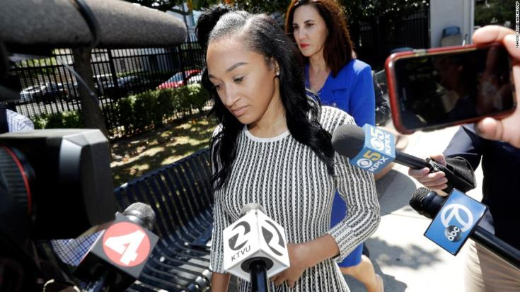 Elissa Ennis, former girlfriend of San Francisco 49ers linebacker Reuben Foster, walks out of Santa Clara County Superior Court in May.