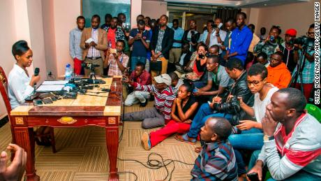 Diane Rwigara announces her plans to run as a presidential candidate at a press conference in Kigali in May 2017.
