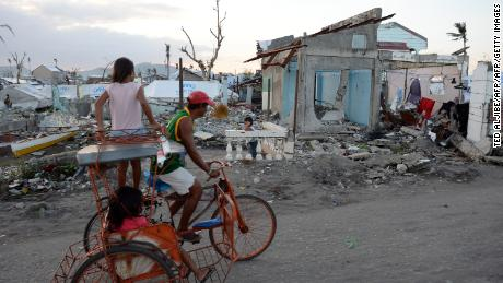Homes destroyed by Typhoon Haiyan, in Tacloban City, Philippines, on February 15, 2014.