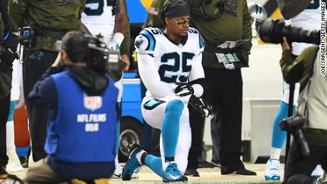Eric Reid of the Carolina Panthers kneels during the National Anthem before the game against the Pittsburgh Steelers at Heinz Field on November 8, 2018.