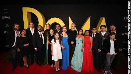 """Cast and crew members at a """"Roma"""" premiere on December 18 in Mexico City."""