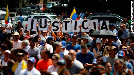 Hundreds demonstrate in support of Guaidó during a rally in Caracas on Saturday.