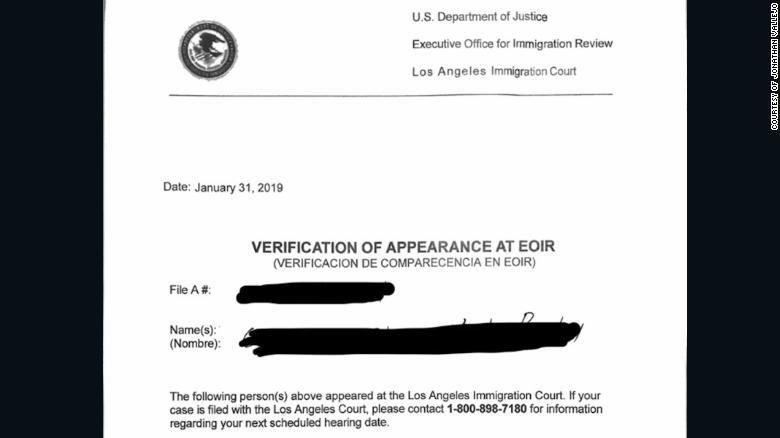 """In Los Angeles, immigrants who had """"fake dates"""" were given paperwork acknowledging they'd appeared at the immigration court, according to attorney Jonathan Vallejo, who provided this redacted copy of one such form."""