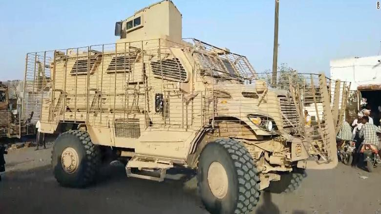 An American-made MRAP in the hands of the Giants Brigade militia in Yemen in February 2019.