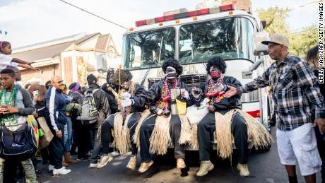 Zulu members parade on Mardi Gras in 2018 in New Orleans.
