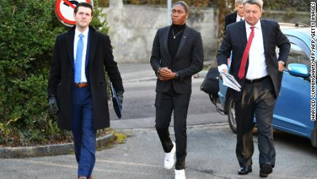 Semenya (center) arrives for a landmark hearing at the Court of Arbitration for Sport (CAS).
