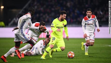Barcelona's Lionel Messi endured a frustrating night against Lyon.
