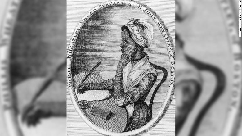 Phillis Wheatley, the first published African-American woman poet, is shown in an engraved portrait.