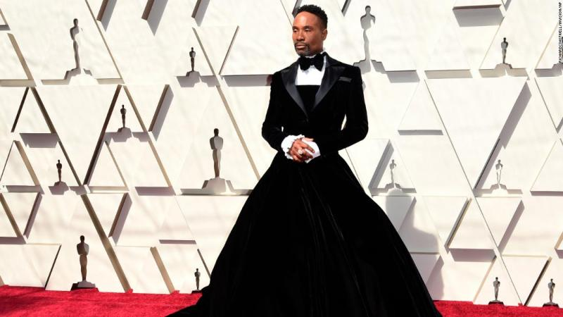 """""""Pose"""" star Billy Porter, one of the first to arrive, became one of the night's most talked-about stars when he arrived in a black velvet tux dress by Christian Siriano. The designer tweeted a gif of the actor spinning in his creation, saying it was an """"honor to create this moment."""""""