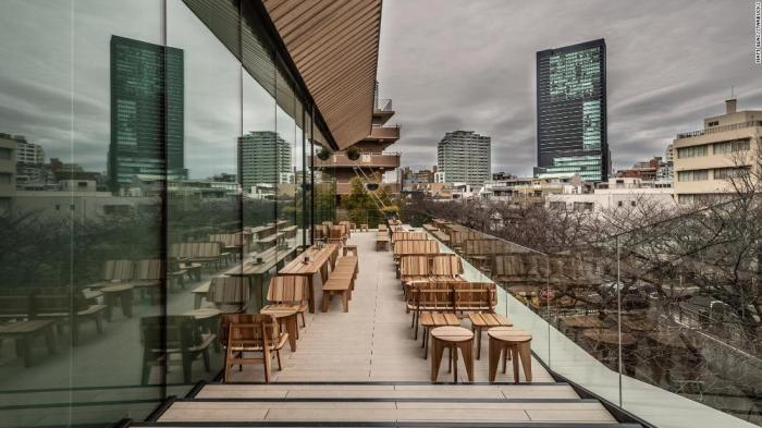 The terrace at the Tokyo Roastery.