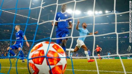 Manchester City forward Raheem Sterling celebrates after scoring against Schalke in the Champions League in February.