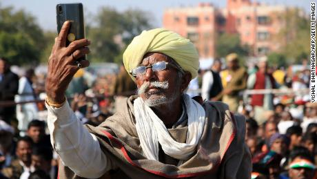 A farmer takes a selfie during a rally for Congress Party leader Rahul Gandhi in January.