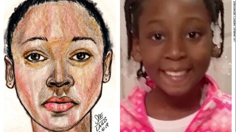 A police sketch of the girl found in the bag (left) identified as Trinity Love Jones, age 9 (right).