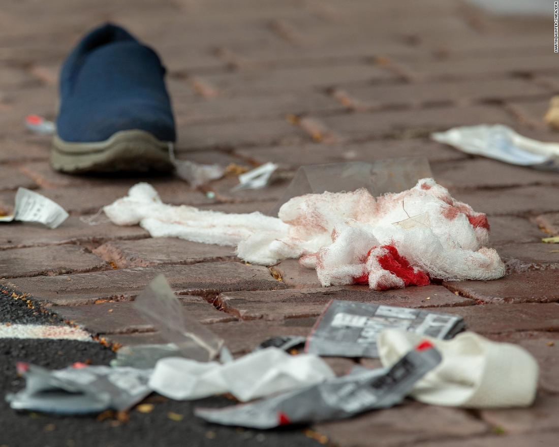 Bloodied bandages litter the road on Deans Avenue.