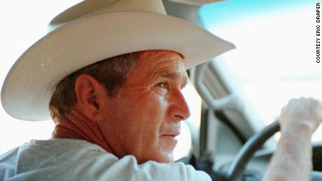 President George W. Bush at Prairie Chapel Ranch, August 7, 2001, in Crawford, Texas.