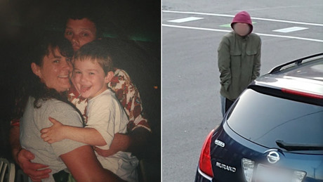 Timmothy Pitzen, shown in an undated photo with his mother Amy, disappeared in 2011. The photo at right is of the individual spotted by Newport, Kentucky, residents.