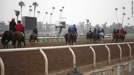Horses exercise at Santa Anita, which hosts its final meeting of the season this weekend.