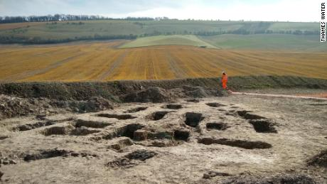 The dig site, near Letcombe Bassett in Oxfordshire, England.