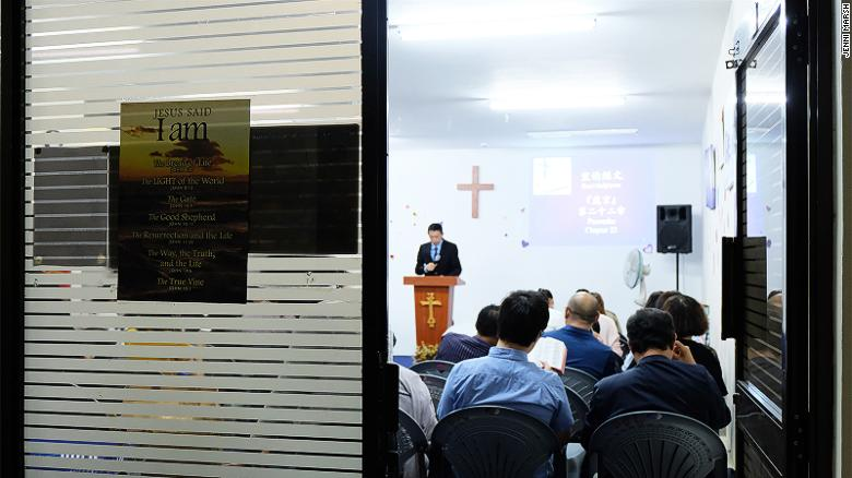 The Bread of Life service is held in a high-rise office tower, which is busy Monday to Friday but empty on Sundays apart from this church.