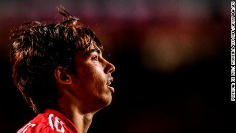 Joao Felix is pictured playing for Benfica.