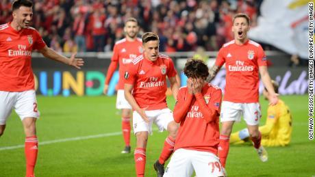 Joao Felix reacts after scoring against Eintracht Frankfurt.