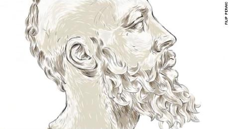 Here, Harden's profile appears as a Greek philosopher.