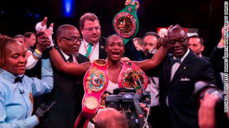 Claressa Shields celebrates defeating Christina Hammer in Atlantic City, New Jersey