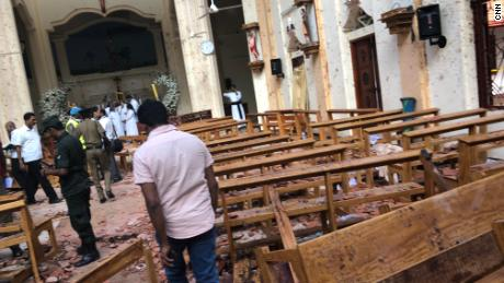 The scene in the immediate aftermath of Sunday's attack on St Sebastian's Church in Negombo.