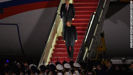 Russia's President Vladimir Putin arrives at Beijing airport ahead of the Belt and Road Forum in the Chinese capital on April 25.