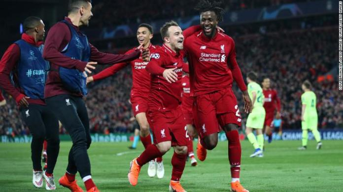 Divock Origi of Liverpool celebrates as he scores during UEFA Champions League game against Barcelona.