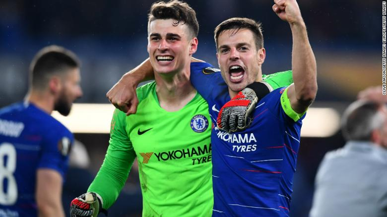 Kepa Arrizabalaga and Cesar Azpilicueta of Chelsea celebrate after winning the semifinal tie.