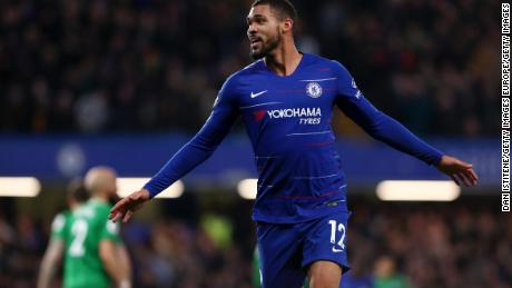 Ruben Loftus-Cheek celebrates after scoring in a Premier League game against Brighton in April.