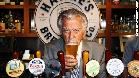Bob Hawke drinks Hawke's Lager at the launch of Hawke's Lager at The Clock Hotel on April 6, 2017 in Sydney.