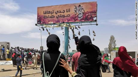 A billboard depicts Alaa Salah, a Sudanese activist who became an icon of the protest movement after a video of her leading demonstrators' chants went viral.