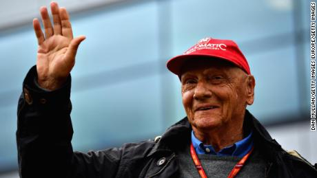 Niki Lauda celebrates after the Formula One Grand Prix of Great Britain at Silverstone on July 16, 2017 in Northampton, England.