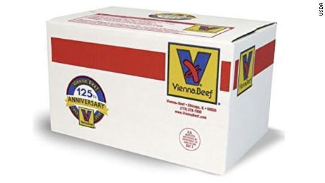 A 10-pound case of Vienna Beef frankfurters.