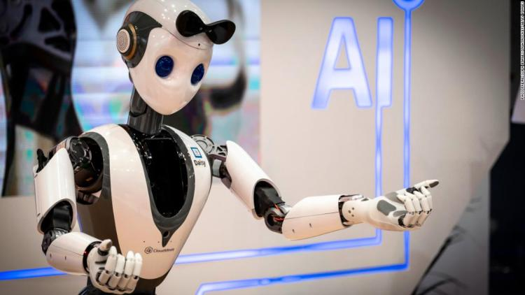 The humanoid robot Daisy of the American company Cloud-minds is seen dancing during the MWC2019. (Photo by Paco Freire/SOPA Images/LightRocket via Getty Images)
