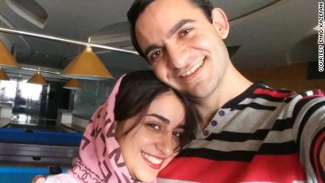Emad Kazerani and his fiancee, Raziyeh Aghakhanikhanghah, who is seeking a visa but stuck in administrative processing.