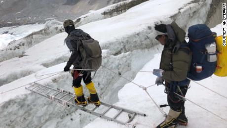 Traversing ravines in the ice. Everest isn't as technical as it used to be, but it still requires significant experience to mitigate the dangers.