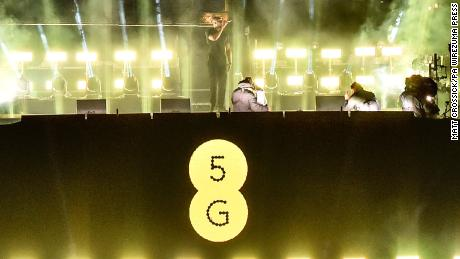 Musician Stormzy performs at a gig in London to mark the launch of 5G on the carrier EE.