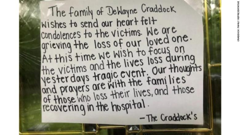 A representative for the family of DeWayne Craddock sent a photo of a note on their door with their statement to CNN's Scott Glover.