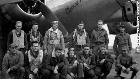 In this July, 1944 photo, Bill Carter's father Richard is third from left in the front row and 602nd Squadron pilot Paul Roderick is second from left in the top row.