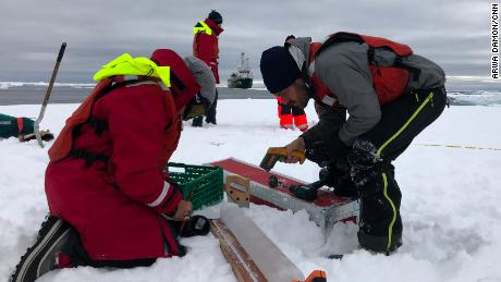Measuring the thickness and density of a recently extracted ice core.